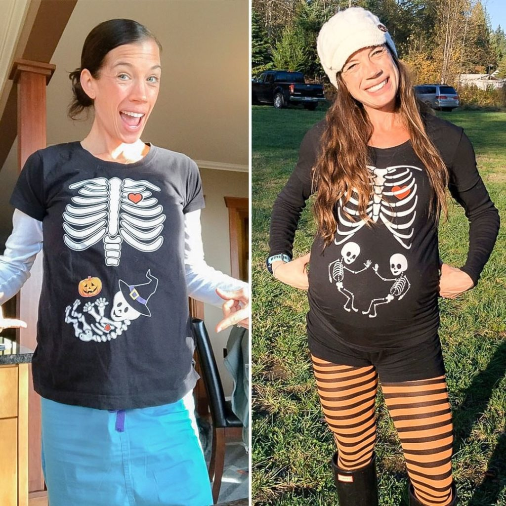 Twin pregnancy halloween shirt